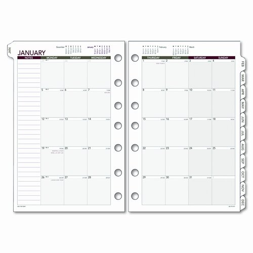 Day Runner Express Monthly Planning Pages Refill, 5-1/2 x 8-1/2, 2014