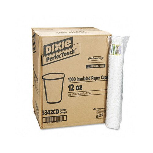 Dixie Coffee Dreams Design Paper Hot Cups, 12 Oz., 1000/Carton