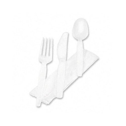 Dixie Wrapped Tableware/Napkin Packet, Plastic Utensil Set with Napkin, 250/Carton