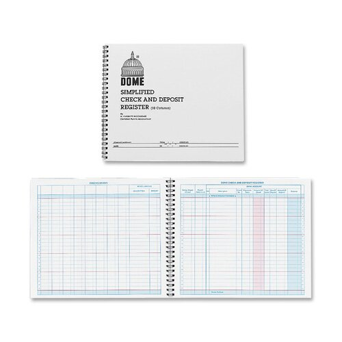 "Dome Publishing Company, Inc. Check/Deposit Register, 50 Pages, 10-1/4""x8-1/2"", Gray"