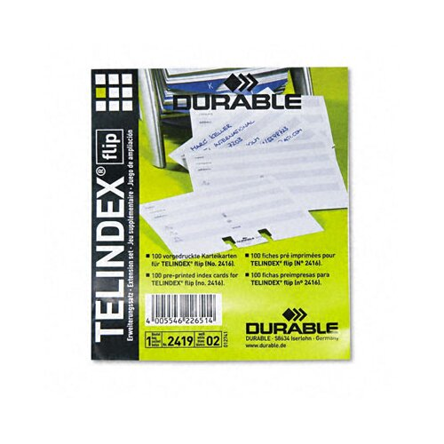 Durable Office Products Corp. Telindex Flip Address Card Refills 100/Pack