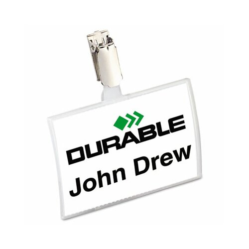 Durable Office Products Corp. Click-Fold Convex Name Badge Holder, Strap Clip, 25/Pack