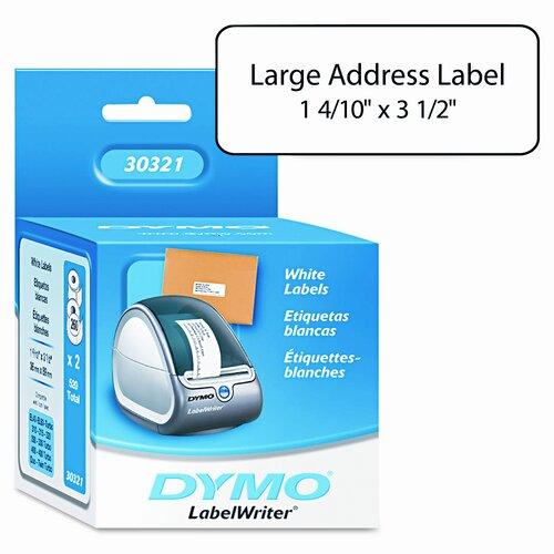 Dymo Corporation 30321 Address Labels, 1-2/5 X 3-1/2, 520/Box
