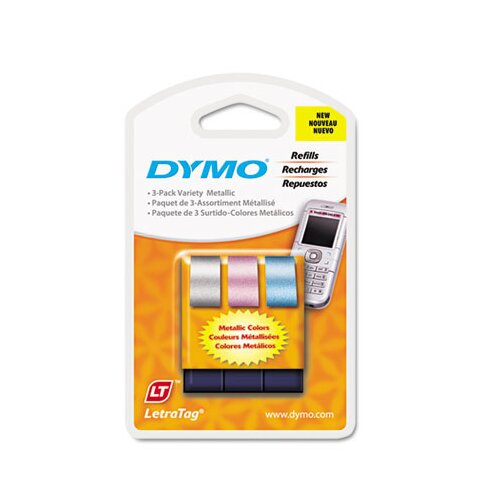 "Dymo Corporation Letratag Metallic Label Tape Cassette, 0.5"" x 13', 3 Rolls/Pack"