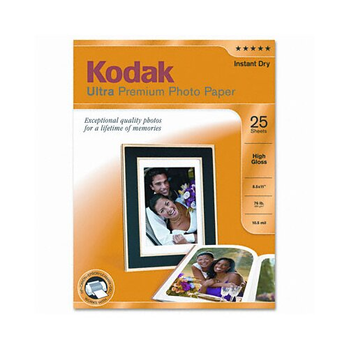 Eastman Kodak High-Gloss Ultra Premium Photo Paper, 25 Sheets/Pack