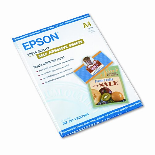 Epson America Inc. Photo-Quality Self-Adhesive Inkjet Paper, White, A4 (8-3/8 x 11-3/4), 10 Sheets