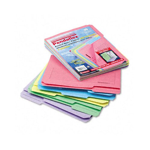 Esselte Pendaflex Corporation Printed Notes Folders with Fastener, 1/3 Cut Top Tab, Letter, 30/Pack