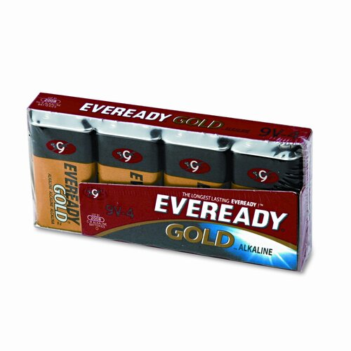 Energizer® Eveready Gold Alkaline Batteries, 9V, 4 Batteries/Pack