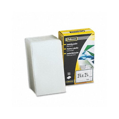 Fellowes Mfg. Co. Laminating Pouches, 5 Mil, Business Card, 100/Pack
