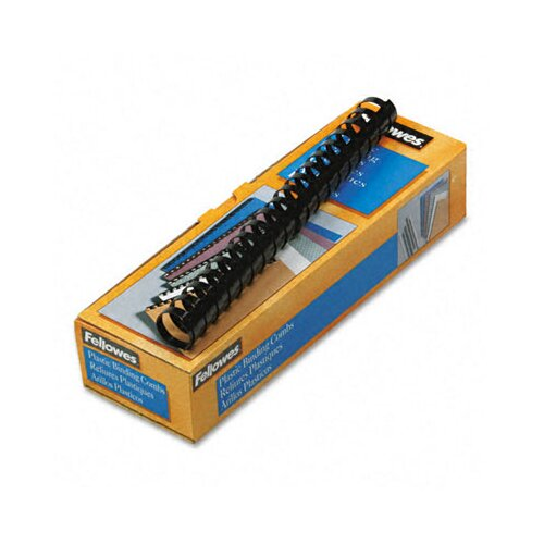 "Fellowes Mfg. Co. Plastic Comb Bindings, 1"" 200-Sheet Capacity, Black, 10 per Pack"