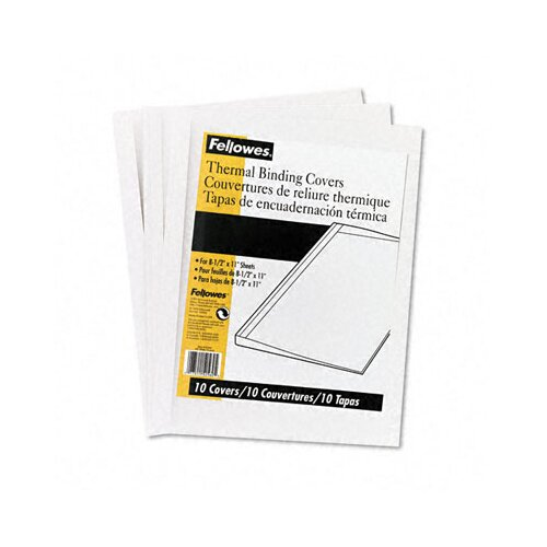 Fellowes Mfg. Co. Thermal Binding System Covers, 9 3/4 x 11 1/8, Clear/White, 10 per Pack