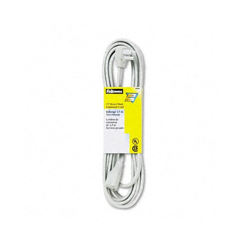 Fellowes Mfg. Co. Indoor Heavy-Duty Extension Cord, 3-Prong Plug, 1 Outlet, 15-Ft. Length