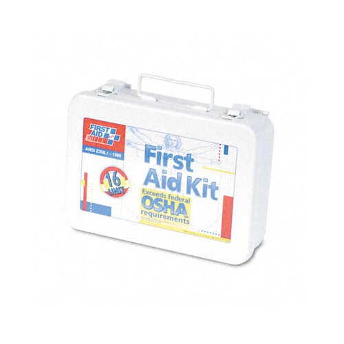 First Aid Only™ Unitized First Aid Kit for 16 People, 94 Pieces, Osha/Ansi, Metal Case