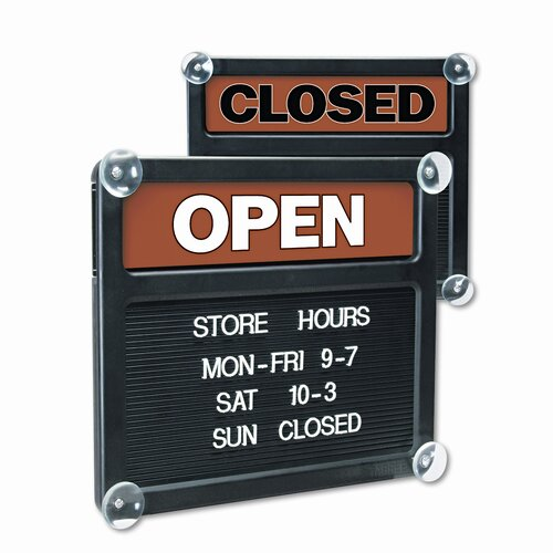 GBC® Headline Sign Double-Sided Open/Closed Sign with Plastic Push Characters