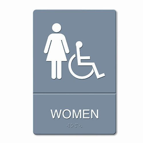 GBC® ADA Restroom Sign, Women Wheelchair Accessible Symbol, Molded Plastic, 6 x 9