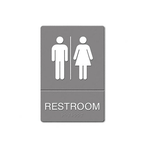 GBC® ADA Restroom Sign, Large Restroom Symbol Tactile Graphic, Molded Plastic, 6 x 9