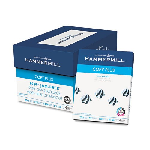 Hammermill Copy Plus Copy Paper, 92 Brightness, 20lb, 8-1/2 x 11, White, 500 Sheets/Ream