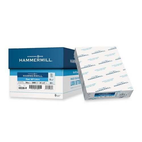 "Hammermill Colored Copy Paper, 20Lb, 8-1/2""x11"", 500/RM, Blue"