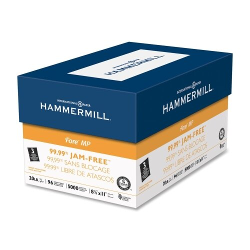 "Hammermill Jam-Free Fore DP Paper, 20Lb, 3-Hole, 8-1/2""x11"", 96 GE/112 ISO, 10/CT, WE"
