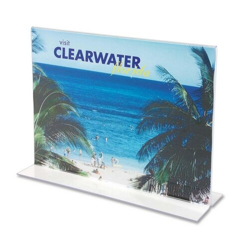 Deflect-O Corporation Stand-Up Double-Sided Sign Holder, Plastic, 11 x 8-1/2
