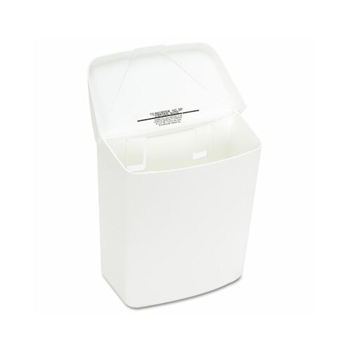 Hospital Specialty Health Gards Convertible Receptacle, Hinged Lid, 1 gal, Plastic, White