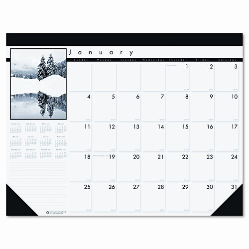 House of Doolittle Black-and-White Photo Monthly Desk Pad Calendar, 22 x 17, 2015
