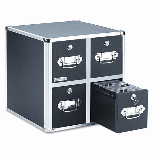 Ideastream Products Four-Drawer CD File with Key Lock Holds 660 Discs, 14-1/2 x 15 x 14-3/4, Black