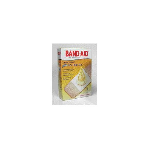 "Johnson & Johnson 3/4"" X 4"" BAND-AID® Plus Antibiotic Bandages (8 Per Box)"