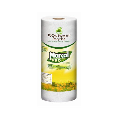 Marcal Paper Mills, Inc. 100% Premium Recycled Perforated Paper Towels - 70 Sheets per Roll / 15 Rolls