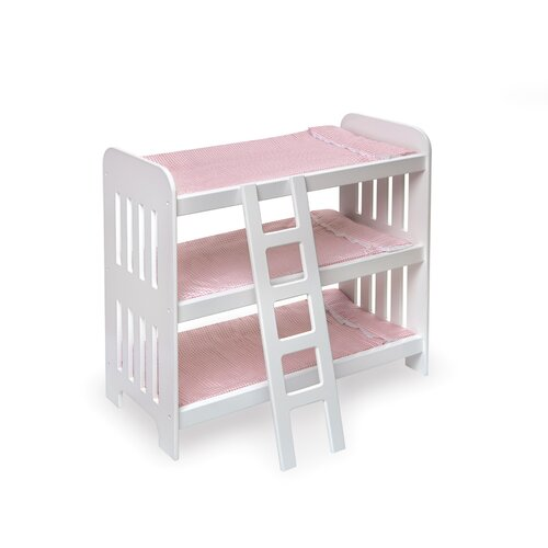 Badger Basket Triple Doll Bunk Bed with Ladder and Pink Gingham Mats