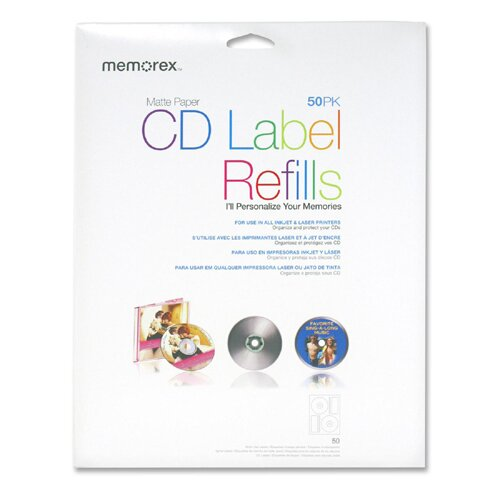 Memorex CD Label Refills for  Inkjet/Laser, 50 per Pack, White Matte