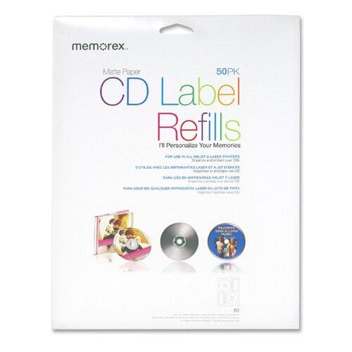 Memorex CD Label Refills for  Inkjet/Laser, 50 per Pack, White Matte
