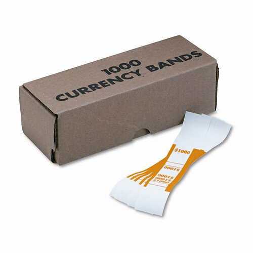 MMF Industries Self-Adhesive Currency Straps, $1,000 In $10 Bills, 1000 Bands/Box