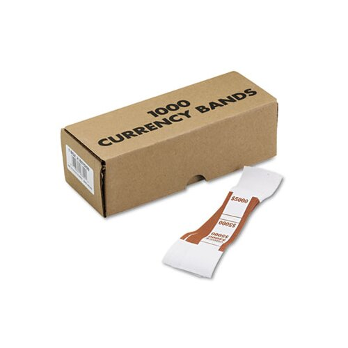 MMF Industries Self-Adhesive Currency Straps, Brown, $5,000 in $50 Bills, 1,000 Bands per Box