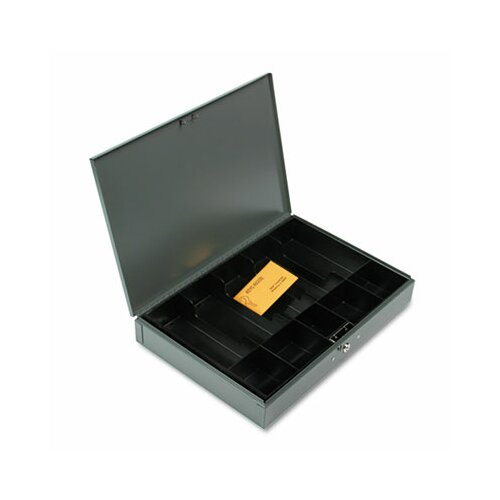 MMF Industries Steelmaster Extra-Wide Steel Cash Box with 10 Compartments