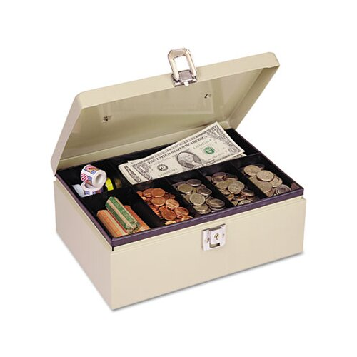 MMF Industries Steelmaster Heavy-Duty Steel Cash Box with 7 Compartments