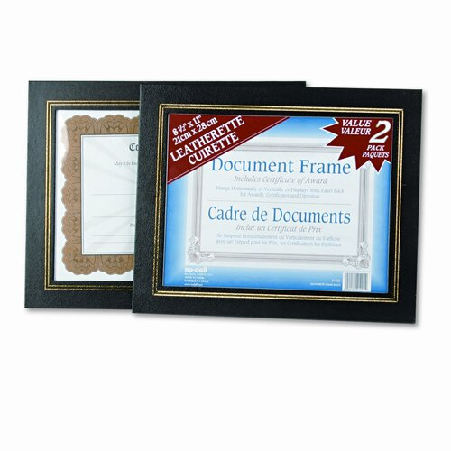 Nudell Plastics Leatherette Document Frame, Pack of Two