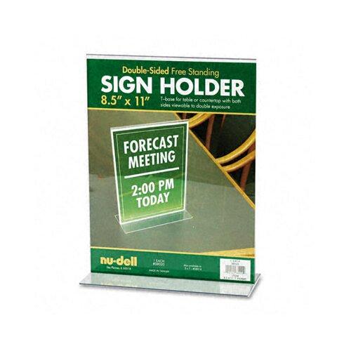 Nudell Plastics T-Frame Base Desktop Sign Holder, Acrylic, 8-1/2 x 11