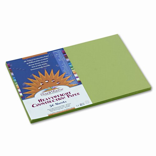Pacon Corporation SunWorks Construction Paper, Heavy, 12 x 18, Bright Green, 50 Sheets,