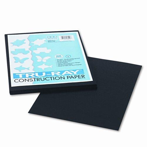 Pacon Corporation Tru-Ray Construction Paper, Sulphite, 9 x 12, Black, 50 Sheets