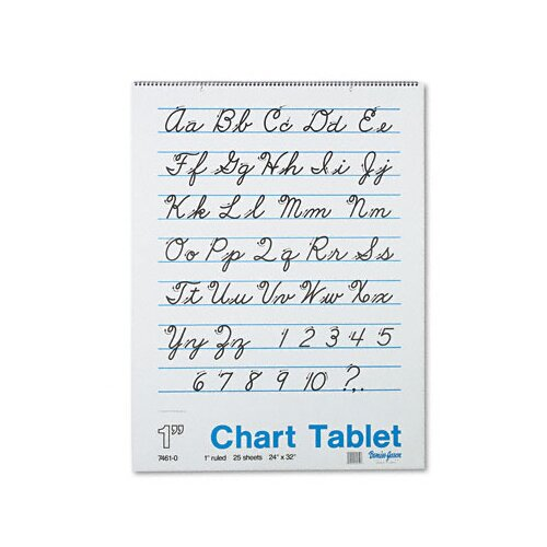 Pacon Corporation Chart Tablet with Cursive Cover, 25 Sheets/Pad