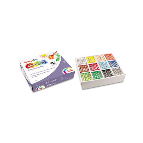 Pentel of America, Ltd. Oil Pastel Set With Carrying Case,12-Color Set, Assorted, 432 per set