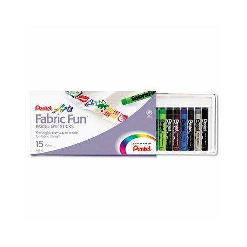 Pentel of America, Ltd. Fabric Pastel Dye Sticks, 15/Set