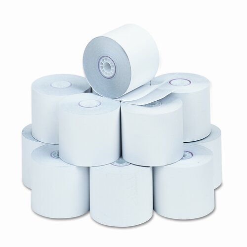 """PM Company Two-Ply Calculator Receipt Paper Rolls, 2-1/4""""w, 90'l, White, 12/pk"""