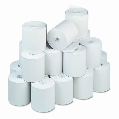 """PM Company Single-Ply Thermal Cash Register / Pos Roll, 3"""" X 225 Ft., 24/Carton"""