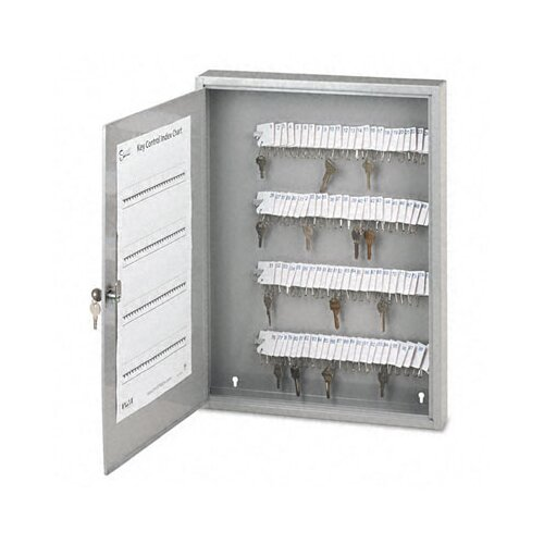 PM Company Locking 100-Key Steel Cabinet, 16-1/2w x 3d x 22-1/2h, Gray