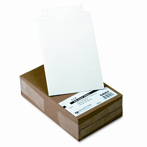 Quality Park Products Photo/Document Mailer, Redi-Strip, Side Seam, 6 x 8, White, 25/box