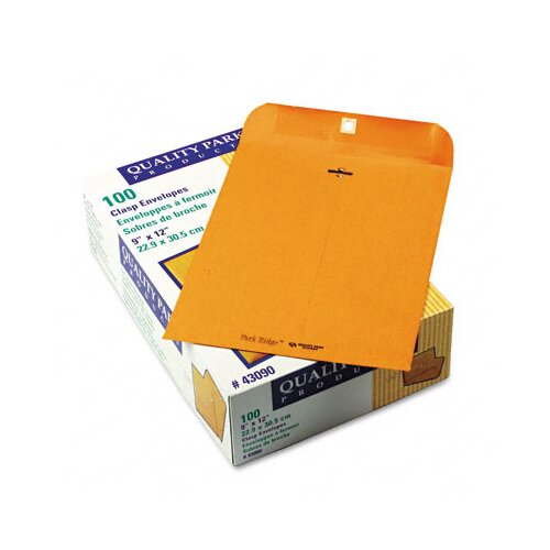 Quality Park Products Park Ridge Kraft Clasp Envelope, 9 x 12, Light Brown, 100/box