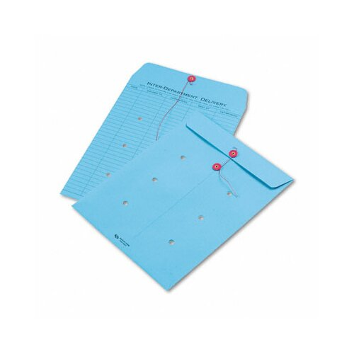 Quality Park Products Colored Paper String & Button Interoffice Envelope, 10 x 13, Blue,100/carton
