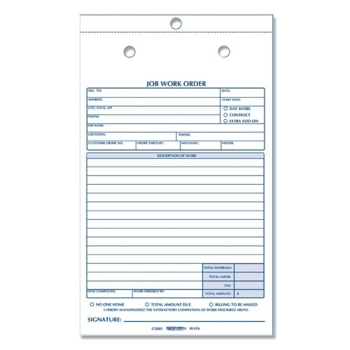 "Rediform Office Products Job Work Order Book, 2 Parts, 5-1/2""x8-1/2"", 50/Black"